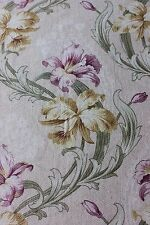 Antique French Art Nouveau Iris Home Dec Cotton Printed Fabric c1890-1900