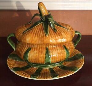 Vintage Majolica Corn Cob Soup Tureen & Under Platter Set Marked Belo Portugal