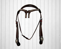 WESTERN HEADSTALL SHOW TRAIL HORSE BRIDLE BASKET WEAVE TOOLED BARREL TACK