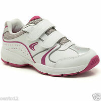 GIRLS CLARKS FLUENCY JET INF WHITE LEATHER TRAINERS SHOES F.G FITTING