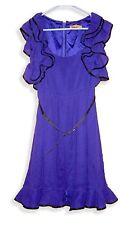 Alice + Olivia Dark Purple Belted Textured Silk Dress w/Ruffle Sleeves and Hem-P