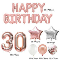 Age 30 HAPPY Birthday Foil Bunting Balloons Party 30th Supplies Decorations Pink