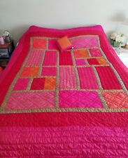 Girl's Twin Bedspread Coverlet w/ Small Pillow Pink Orange