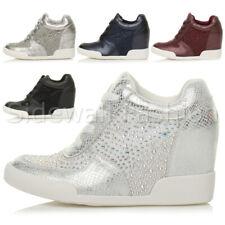 Womens ladies high wedge heel diamante low top trainers sneakers booties size