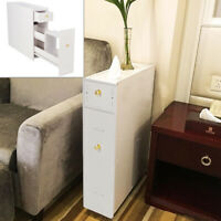 Wood Slimline Bathroom Slide Out Storage Drawer Cabinet Cupboard Unit White