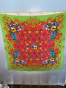 "Vintage Vera Scarf Silk Square Hand Rolled 34"" Sq"