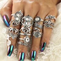 16 Teile / satz Vintage Silber Kristall Party Ring Set Punk Frauen Mode Ringe