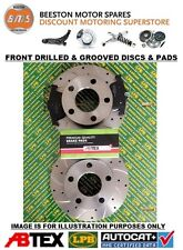 Ford Fiesta mk7 08-17 Front Drilled & Grooved Brake Discs & Abtex Pro Pads