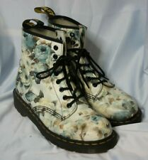 Dr. Martens Women's Blue Floral Pattern Lace Up Boots Size 6 Used Condition