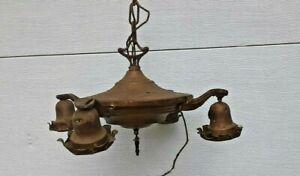 antique Victorian 4 arm pan chandelier light pendant ceiling brass fixture