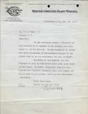 1917 Oliver Chilled Plow Works - South Bend, IN Letter remittance request