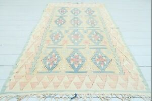 "Doormat, Turkish Kayseri Kilim Rug, Bedroom Rug Red Blue Color Small Rug 42""x67"""
