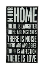 """PRIMITIVE WOOD BOX SIGN """"IN OUR HOME THERE IS...LAUGHTER, LOVE"""" Wall Art/Sitter"""