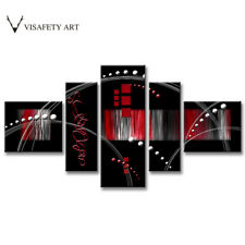 Abstract Wall Art Red Black Line Modern Canvas Print Painting Home Decor 5 PCS