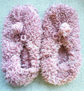 WARM ANTI SLIP SLIPPERS PINK CLOSE TOE CHILD LADIES WOOMEN UK 4-6; EUR 38; 24cm;