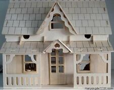 wooden puzzle dollhouse doll wood house 4 big rooms kit