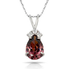 3.70CT Pear Shape Alexandrite 4 Stone Gemstone Pendant & Necklace 14K White Gold
