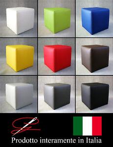 POUF POUFF PUFF CUBO DOPPIA CUCITURA ECO-PELLE POGGIAPIEDI DESIGN MADE IN ITALY