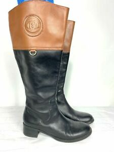Etienne Aigner Women Leather Riding Boots 7M Two Tone Wide Shaft Black/Brown