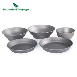 Titanium Bowls Plates Set Camping Single-Walled Bowls Dishes Outdoor Dinneware