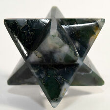 """2.5"""" Green Moss Agate 8 Point Merkaba Star Polished Crystal Mineral Stone India"""