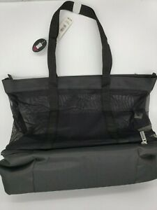 NO BOUNDARIES Mesh Zip Tote (Black) with insulated Cooler Compartment
