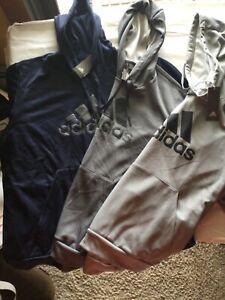 Adidas Hooded Sweatshirt Gray Navy Men New Tags Polyester GG Big BOS Hood Hoodie