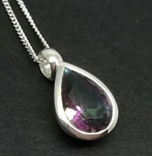 Mystic Topaz Faceted Pear Pendant Solid Sterling Silver On Chain. 12 x 8mm. UK.