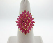 Natural 6.00cts Rubies 14k Yellow Gold Flower Cluster Cocktail Ring FREE Sizing
