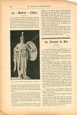 Minerve d'Egine Statue Athéna Musée de Munich Allemagne GRAVURE OLDPRINT 1909