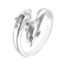 Men/Women Jewelry 925 Sterling Silver Plated Dolphin Fashion OPening Ring Gift