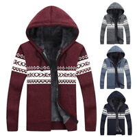 Winter Warm Mens Thick Zip Cardigans Casual Fleece Jackets Knitted Sweater Coats