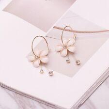 Women Rhinestone Glass Flower Earrings Tassel Long Drop Dangle Hoop Jewelry Gift