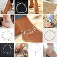 Women Silver Gold Plated Layer Star Anklets Foot Feet Bracelet Chain Leg Jewelry