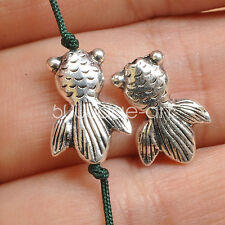 20pcs Tibetan Silver charm fish spacer beads loose Charms bead 10x19mm A3552