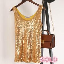 Women Sequin Vest Tank Top Camisole Bling Strap Singlet Glitter Slim Sparkly