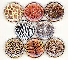 Animal Print 8 NEW button pin badge skin cheetah leopard tiger snake tiger gator