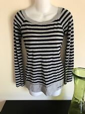 Guess Jeans Woman Size Medium Top Cardigan Sweater Long Sleeve Stripes