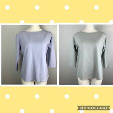 Lot of 2 Cut Loose Tops Purple & Gray 3/4 Sleeve Cotton Blend T Shirt Size Large