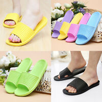Unisex Fashion Solid Indoor Bathroom Anti-Slip Flat Home Shoes Slippers