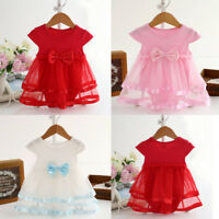 Baby Girls Solid Birthday Tutu Bow Clothes Party Jumpsuit Princess Romper Dress