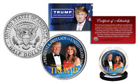 DONALD TRUMP & MELANIA TRUMP OFFICIAL 2016 Presidential Kennedy Half Dollar Coin