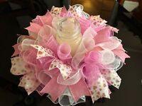 "17"" Handmade Valentine's Deco Mesh Heart Centerpiece/Candle Holder - Pink/White"