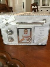 Silver Plated Birth Certificate, Tooth And Hair Lock Holder With Picture Frame