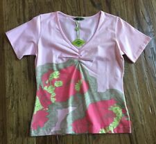 OILILY Womens Fashion Cotton Tee Shirt Top Short Sleeves Pink NWT ($95)