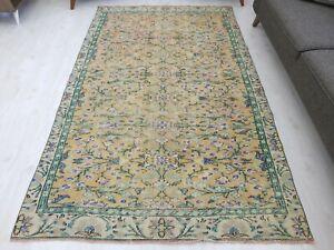 Turkish Area Oushak Wool Handmade Rug 5x8, Unique Vintage Salon Floral Old Rug