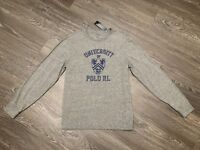 Men Polo Ralph Lauren University Long Sleeve Cotton T-Shirt Grey Slim Fit XL $55