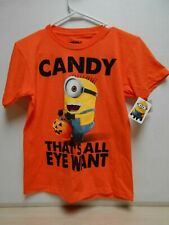 SIZE Small Boy or Girl's FUN Halloween T-Shirt NEW W/Trick or Treating Minions