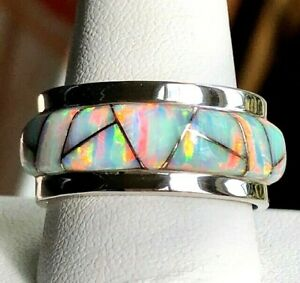 Heavy thick Pipe Men Man White Opal Ring RED FIRE Sunset GLOW Sterling 12.5 Z