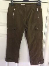 KAREN MILLEN lovely mole brown stretch cotton cropped trousers UK 8